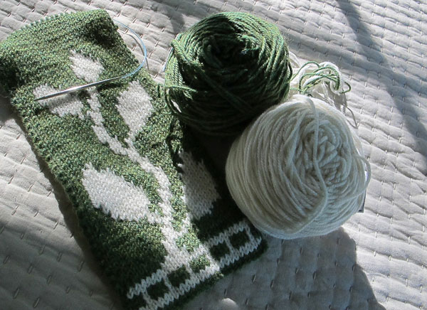 Sprouts, reversible scarves, double knitting, Borocco