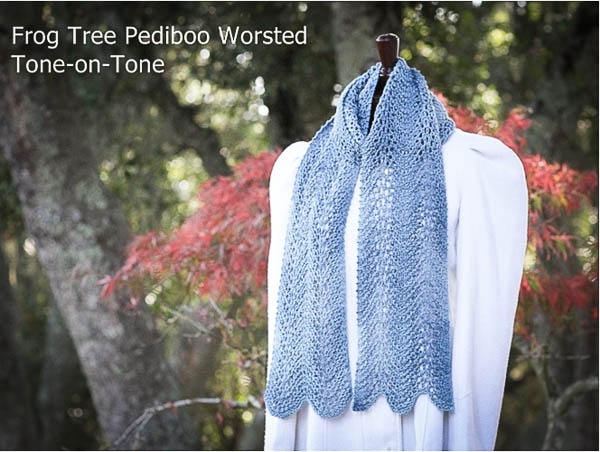 Feather and Fan, reversible scarf, Frog Tree