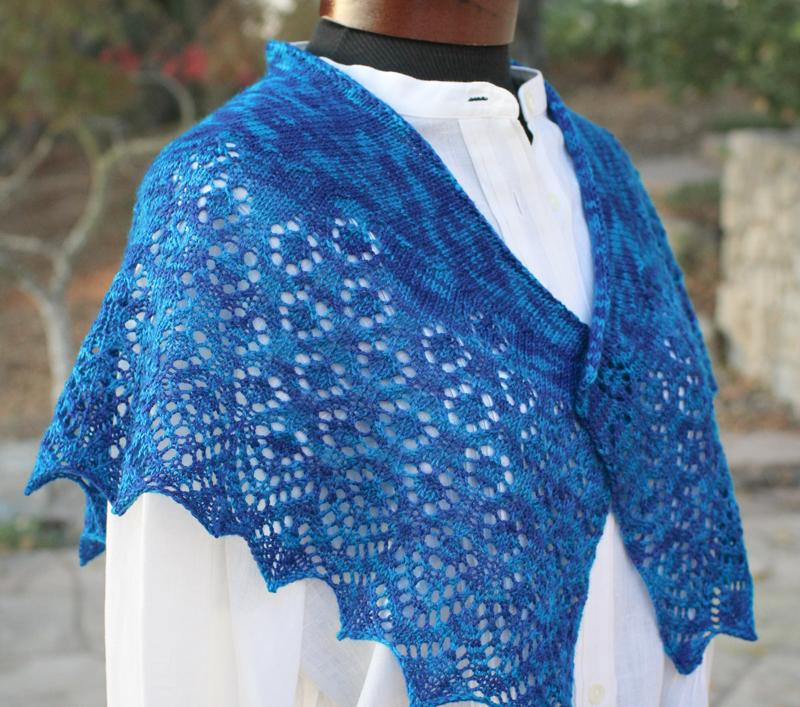 lace shawl, Steller Jay shawl, Baah Yarn