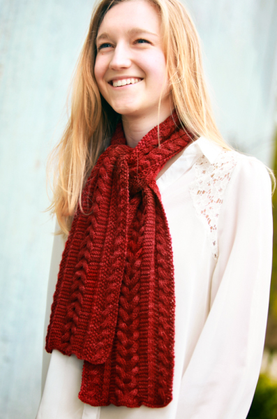 knitting pattern, reversible, reversible scarf, cables, reversible cables