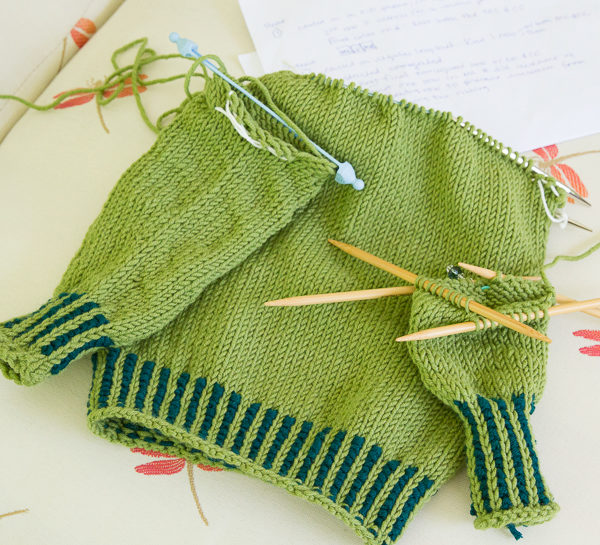 knitting camp, mini sweater