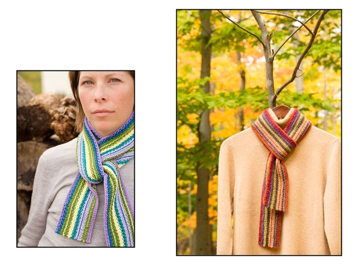 Bold Stipes, reversible scarf, knitting pattern