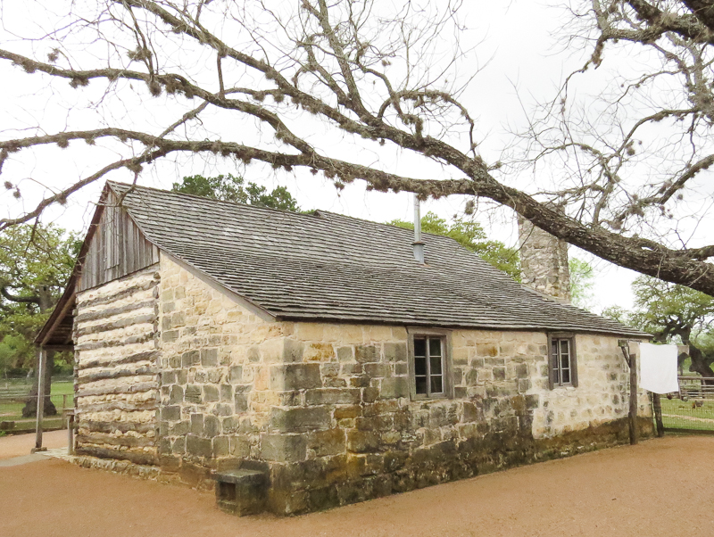 LBJ log and stone cabin